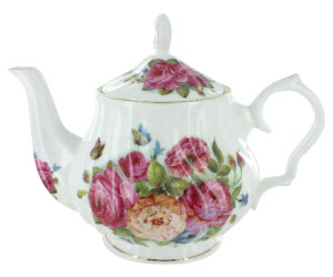 Sandra's Rose Bone China - 6 Cup Teapot (ETS image)
