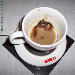 Left this cuppa on the warmer too long – ewwwww! (Photo by A.C. Cargill, all rights reserved)