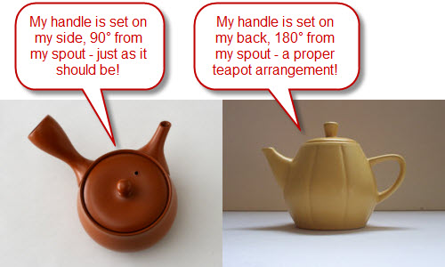 Trying to keep those teapots from coming to blows! (Kyusu on left via Yahoo! Images, Little Yellow Teapot on right by A.C. Cargill, all rights reserved)
