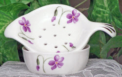 Fine Bone China Tea Strainer - Violets (ETS image)