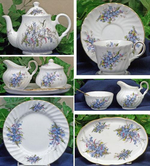 Forget Me Not Fine Bone China Set and Pieces (ETS image)