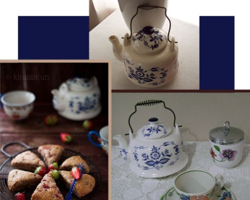 My blue-and-white teapot at top plus two very similar ones I happened to see online. (Composite image, all rights reserved)