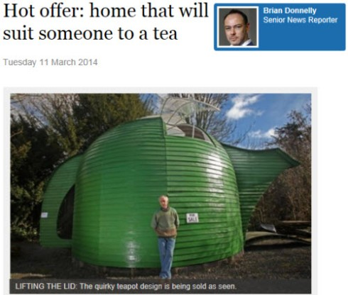 Teapot House in Scotland (screen capture from site)