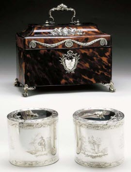 A Pair of George III Silver Tea Caddies with Silver-Mounted Tortoise Shell Case London 1771 (From Pinterest)