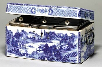 A Rare Sheffield Plate-Mounted Blue and White Tea Caddy Box (From Pinterest)