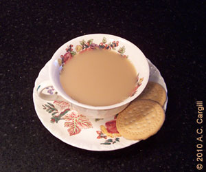"Tea with milk and some ""biscuits"" – that British influence is alive and well around the world. (Photo by A.C. Cargill, all rights reserved)"