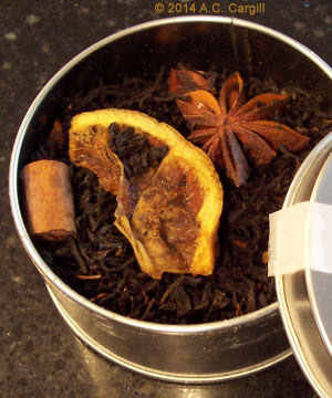A chunk of cinnamon, a bit of orange, and some star anise – move them around for even flavor effects. (Photo by A.C. Cargill, all rights reserved)