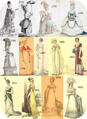 Fashion range for women during Austen's lifetime. (click on image to go to source site)