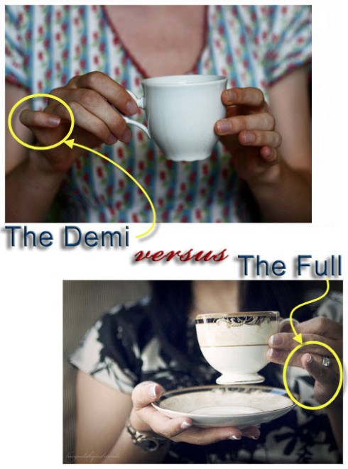 The Demi is more demure, but the Full keeps would-be pilferers away from your tea! (From Yahoo! Images)