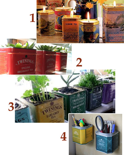 A Few Typical Tea Tin Reuses: 1 – candleholders, 2 & 3 – planters, 4 – pen/pencil holders (From Yahoo! Images)
