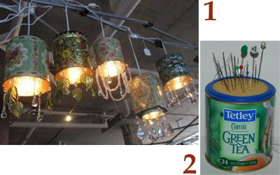 A Few Very A-Typical Tea Tin Reuses: 1 – ceiling light fixture, 2 – pincushion (From Yahoo! Images)