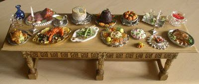 "Miniatures showing a typical Georgian ""spread"" (click on image to go to source site)"