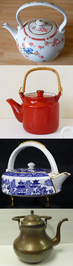 Top to bottom: Japanese Kettle Teapot, Red vintage Japanese tea kettle teapot from kitschCAFE, Antique Royal Worcester Pagoda Pattern Kettle Shaped Teapot C. 1880, large vintage copper teapot kettle (From Yahoo! Images)