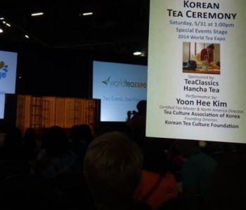 The setting for a demo of the Korean Tea Ceremony by Kim Jyun Ji, one of the many sights at the expo. (photo from Facebook)