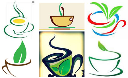 Teacup logos for various online tea vendors (composite of images online)