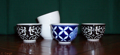 Traditional cups without handles for your gongfu tea time. (Photo by A.C. Cargill, all rights reserved)