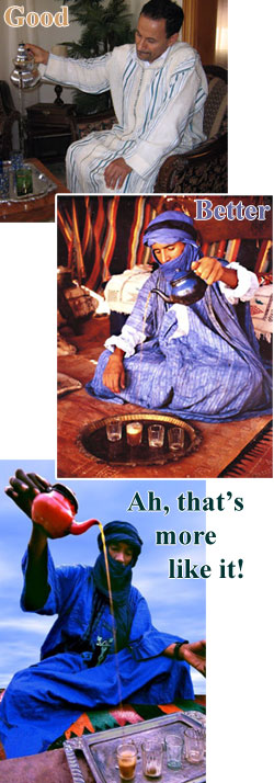 Various images of Moroccan style tea pouring. (From Yahoo! Images)