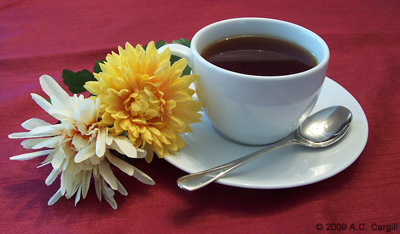 Flowers and a cuppa for that pleasurable tea time. (Photo by A.C. Cargill, all rights reserved)