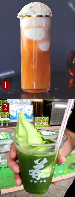 1. Thai Milk Tea Float. 2. Green tea float. (From Yahoo! Images)