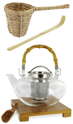 Top to bottom: Bamboo strainer, tea scoop, and teapot (ETS image composite by A.C. Cargill)