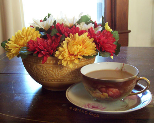 'Mums add a lovely Autumn touch to tea time! (Photo by A.C. Cargill, all rights reserved)