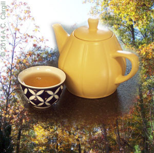 A bit of Dragon Pearl Green Tea while leaf peeping sounds ideal! (Photo by A.C. Cargill, all rights reserved)