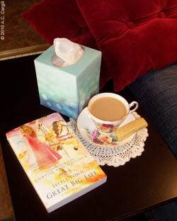 Plump pillows, a good book, a box of tissues in case the book is a tear-jerker, a cookie, and a good cuppa tea help achieve coziness. (Photo by A.C. Cargill, all rights reserved)